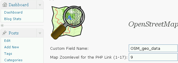 The Custom Field to define the geo data of your post/page